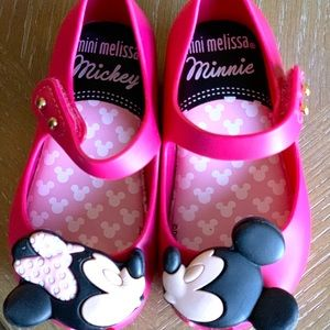 Mini Melissa Mickey and Minnie shoes, size 6
